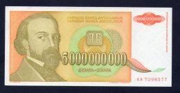 Banconota Jugoslavia 5000000000 Dinara FDS/UNC (Serie AA) - Yugoslavia