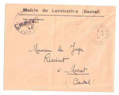 4508 LAVEISSIERE Cantal Lettre EN FRANCHISE Entête Mairie Ob 1944 Recette Distribution Lautier B4 - Postmark Collection (Covers)