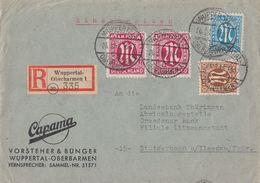 AM-Post R-Brief Mif Minr.22,26,2x 30 Wuppertal-Oberbarmen 26.3.46 - Bizone