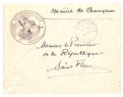 4509 CHARMENSAC Cantal Lettre EN FRANCHISE Entête Mairie Ob 1942 MOLOMPIZE Recette Distribution Lautier B4 - Postmark Collection (Covers)