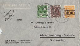 Bizone  Brief Luftpost Mif Minr.45I,39II,41II Gel. Nach Schweden - Bizone