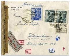 1943 SPAIN MADRID - WILHELMSHAVEN AEREO CENSURA AIR - Marcas De Censura Nacional