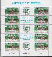 1990 Polynésie Française N° 358 A 359 A Nf** MNH . Série 2 Feuilles Complètes . Centenaire De La Ville De Papeete - Polynésie Française