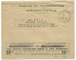 ENVELOPPE PTT CHEQUES POSTAUX TOULOUSE / 1928 / PUB STYLO FRANCAIS ROOL'S /  MACHINE A ECRIRE TORPEDO - Poststempel (Briefe)