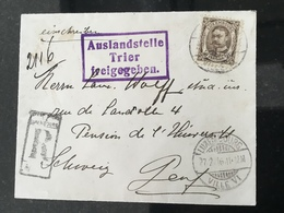 Luxembourg Lettre Reco 1916 - 1906 Guillaume IV