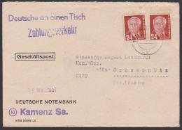 """Kamenz Sachsen Propaganda Gummstempel""""Deutsche An Einen Tisch"""" -Zahlungsverkehr- 24 Pf(2) Doppelbrief 1951 - [6] République Démocratique"""