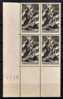 FRANCE 1943 - Y.T. N° 584 / BLOC DE 4 TP COIN DE FEUILLE / NEUFS** - Unused Stamps