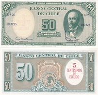 Chile - 5 Centimos De Escudo On 50 Pesos 1960 - 1961 UNC Pick 126b Ukr-OP - Chili