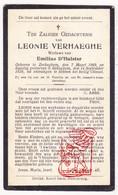 DP Leonie Verhaeghe ° Zerkegem Jabbeke 1869 † Bekegem Ichtegem 1928 X Emilius D'Hulster - Devotion Images