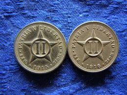 CUBA 2 CENTAVOS 1915, 1916, KM A10 - Cuba