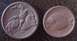 (J) GERMAN STATES - BOLDIXIUM: Porcelain Coin Set: 50 Pf And Mark 1921 UNC (1269)  WOOOOW!!! - Otros