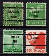 "USA Precancel Vorausentwertung Preo, Locals ""MARION"" (OHIO) 4 Différents. - United States"
