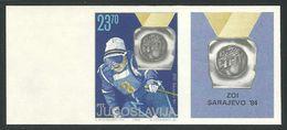 YUGOSLAVIA WINTER OLYMPIC GAMES SARAJEVO SLOVENIA MEDAL SKIING IMPERFORATE IMPERFORATED NON DENTELLATO Olimpici - Winter 1984: Sarajevo