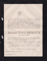 ALOST AALST SAINT-JOSSE Virginie MEERT Veuve RENAUX 1816-1885 Familles SPREUTELS VAN DER SMISSEN WOUTERS - Décès