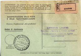 1963 - Amministrazione Della Poste E Delle Telecomunicazioni - Avviso Di Ricevimento Raccomandata - Montedorisio - Chiet - 1946-.. République