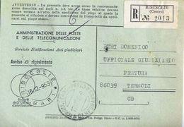1968 - Amministrazione Della Poste E Delle Telecomunicazioni - Avviso Di Ricevimento Raccomandata - Bisceglie - Bari - 1946-.. République