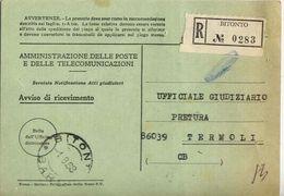 1968 - Amministrazione Della Poste E Delle Telecomunicazioni - Avviso Di Ricevimento Raccomandata - Bitonto - Bari - 6. 1946-.. Repubblica