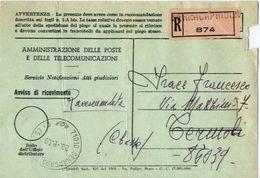 1969 - Amministrazione Della Poste E Delle Telecomunicazioni - Avviso Di Ricevimento Raccomandata - Serracapriola - Fogg - 1981-90: Storia Postale
