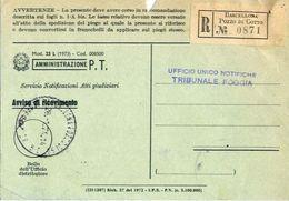 1971 - Amministrazione Della Poste E Delle Telecomunicazioni - Avviso Di Ricevimento Raccomandata - Barcellona - Pozzo D - 6. 1946-.. Repubblica
