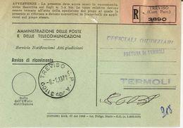 1971 - Amministrazione Della Poste E Delle Telecomunicazioni - Avviso Di Ricevimento Raccomandata - Treviso - 6. 1946-.. Repubblica