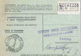 1971 - Amministrazione Della Poste E Delle Telecomunicazioni - Avviso Di Ricevimento Raccomandata - Vermezzo - Milano - 1981-90: Storia Postale