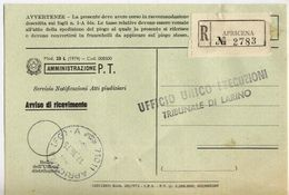 1975 - Amministrazione Della Poste E Delle Telecomunicazioni - Avviso Di Ricevimento Raccomandata - Apricena - Foggia - 1946-.. République