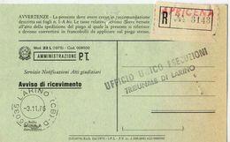 1976 - Amministrazione Della Poste E Delle Telecomunicazioni - Avviso Di Ricevimento Raccomandata - Apricena - Foggia - 1946-.. République