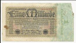 Germany 1 Milliarde Mark 1923 Miss Paper Right - [ 3] 1918-1933 : Repubblica  Di Weimar