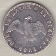 Chili . 20 Centavos 1861. Argent.  KM# 125a - Chili