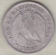 Chili . 20 Centavos 1881. Argent.  KM# 138.2 - Chili