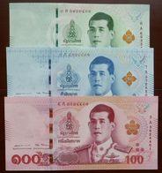 20, 50 Und 100 Baht Serie 17 Rama X. Thailand 6.4.2018 UNC - Thaïlande