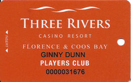 Three Rivers Casino - Florence OR - Players Club Slot Card - Casino Cards