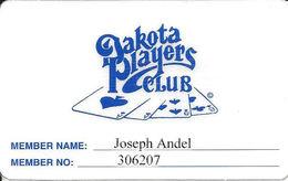 Dakota Players Club - Laminated Paper Casino Member Card - A.G. Trucano Company - Casino Cards