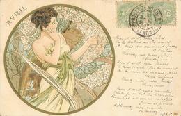 Illustration Alphonse Mucha - Les Saisons - Mois D'Avril (femme En Médaillon) - Carte Dos Simple 1902 - Mucha, Alphonse