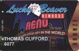 Lucky Beaver Reno & Stateline NV - Pub Casino Bronze Slot Card - Casino Cards