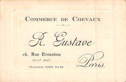 Carte De Visite Ancienne Commerce De Chevaux R Gustave 16 Rue Ernestine Paris - Visitekaartjes