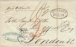 """1862- Letter From Copenhagen To London  """" Via Ostende """"   Several Rating - 1851-63 (Frederik VII)"""