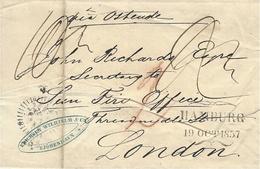 """1857- Letter From Copenhagen To London  """" Via Ostende """"   Several Rating - 1851-63 (Frederik VII)"""