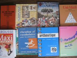 RARE  ! LOT DE 9 LIVRES SCOLAIRES ANCIENS-NEUFS-Français,Math,Orthographe,lecture,LAROUSSE,HISTOIRE,vocabulaire,Géo,etc. - Books, Magazines, Comics