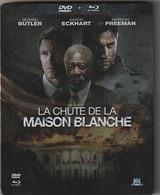 DVD Blu Ray LA CHUTE DE LA MAISON BLANCHE  2 Dvd BOITE METAL Avec Morgan Freeman  Poids 190 Gr - Action, Adventure