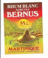 Etiquette Rhum Agricole BERNUS  - Grappe Blanche - Plantation Fonds Doré - 55° 1L  -  MARTINIQUE - - Rhum