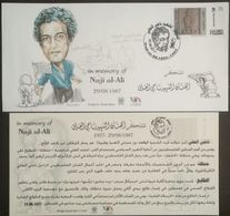 Palestine 2017 Commerative Cover & 3 Cards, Martyr Naji Al-Ali, Stamp Issued In Germany - Palestine