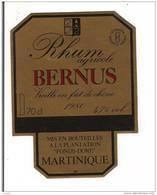Etiquette Rhum Agricole BERNUS  - Vieux -1980 - Fonds Doré -  MARTINIQUE - - Rhum