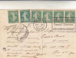 Grenoble To Rovigo, Su Post Card La Place E L'Eglise 1921 - Storia Postale