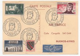 Carte Maryse BASTIE (Timbre Mermoz) 1955 - Poste Aérienne