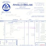 BRASSERIE - Facture + Bulletin Illustrés Cheval 1955 Brasserie Anglo-Belge à ZULTE WAEREGHEM --  26/354 - Alimentaire