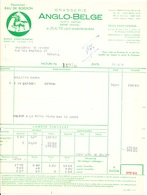 BRASSERIE -  2 Factures Illustrées Cheval 1954 Brasserie Anglo-Belge à ZULTE WAEREGHEM --  26/355 - Alimentaire