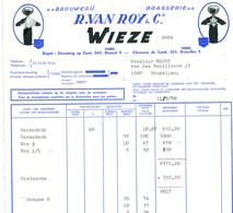 BRASSERIE - Facture Illustrée 1970 Brasserie Van Roy WIEZE à Bruxelles --  26/356 - Alimentaire