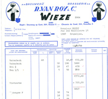 BRASSERIE - Facture Illustrée 1970 Brasserie Van Roy WIEZE à Bruxelles --  26/356 - Levensmiddelen