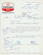 BRASSERIE - Lettre Illustrée 1969 Logo CAULIER Lager Brasserie De GHLIN --  26/357 - Levensmiddelen